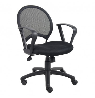 Boss B6217 Mesh-Back Fabric Mid-Back Task Chair