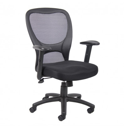 Boss B6508 Mesh-Back Fabric Mid-Back Task Chair