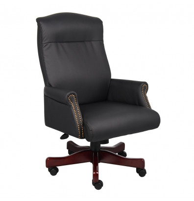Boss B970 Traditional Box Arm Leather High-Back Executive Office Chair