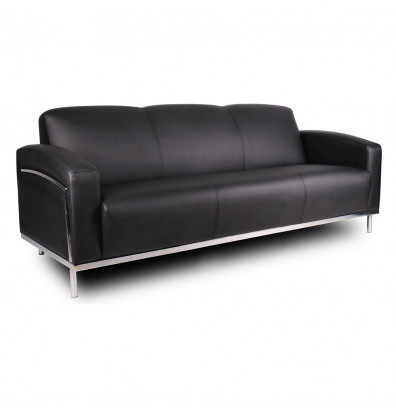 Boss BR99003-BK Contemporary CaressoftPlus Lounge Reception Sofa