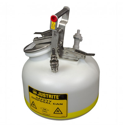 "Justrite BY12755 Polyethylene 5 Gallon Disposal Safety Can, 3/8"" Poly/SS Fitting"