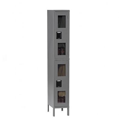 Tennsco C-Thru Assembled Double Tier Steel Lockers with Legs - Shown in Medium Grey