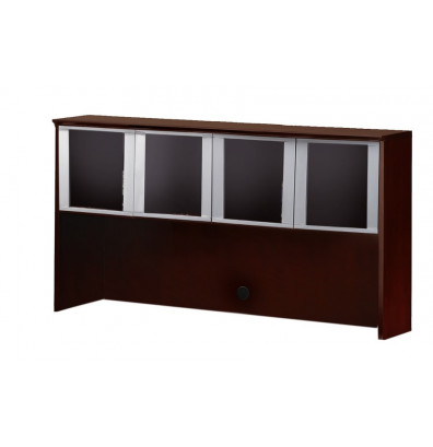 """Mayline Corsica CHG72 72"""" W Hutch with Glass Doors (Shown in Mahogany)"""