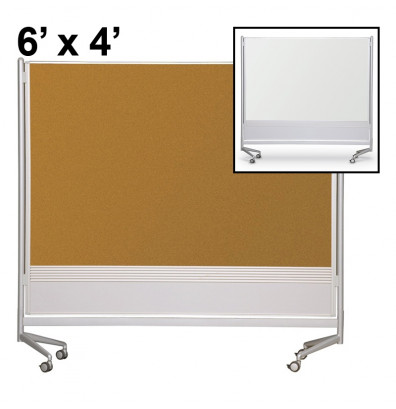 Best-Rite Porcelain/Cork 6 x 4 D.O.C. Mobile Divider Reversible (Both Sides Shown)
