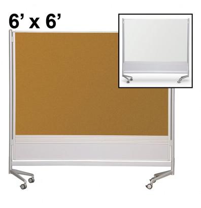 Best-Rite Porcelain/Cork 6 x 6 D.O.C. Mobile Divider Reversible (Both Side Shown)