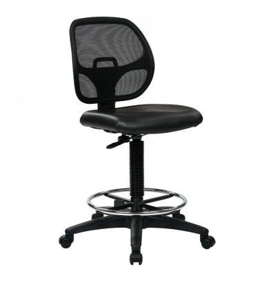 Office Star Work Smart Deluxe Mesh-Back Vinyl Drafting Chair, Footring