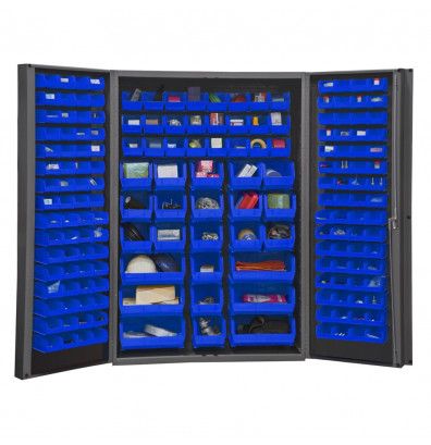 "Durham Steel 48"" W x 24"" D x 78"" H Bin Storage Cabinet, 176 Hook-On Bins (Shown in Blue)"