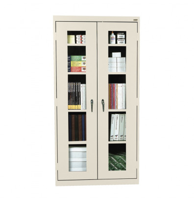 Sandusky Elite See-Thru Storage Cabinets, Clear View Door, Assembled (Shown in Putty)