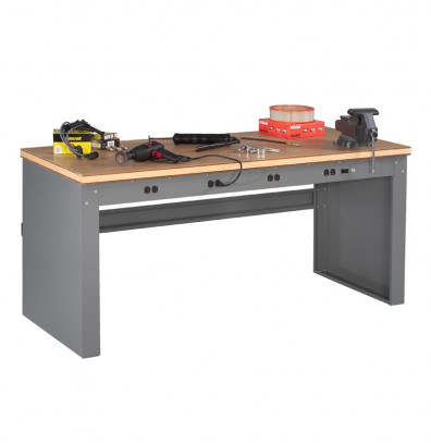 "Tennsco EB-1-3672C Compressed Wood Electronic Workbench with Panel Legs, Stringer, Outlet Panel (72"" W x 36"" D)"