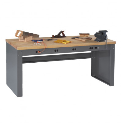 "Tennsco EB-1-3672M Hardwood Electronic Workbench with Panel Legs, Stringer, Outlet Panel (72"" W x 36"" D)"