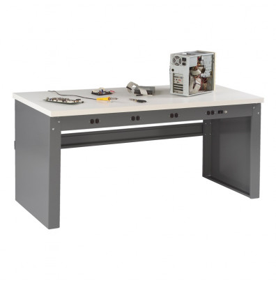 "Tennsco EB-1-3672P Plastic Laminate Electronic Workbench with Panel Legs, Stringer, Outlet Panel (72"" W x 36"" D)"