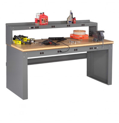 "Tennsco EB-2-3072C Compressed Wood Electronic Workbench with Panel Legs, Stringer, Outlet Panel, Electronic Riser (72"" W x 30"" D)"