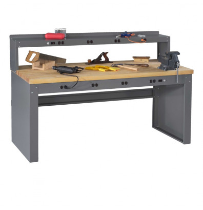 "Tennsco EB-2-3072M Hardwood Electronic Workbench with Panel Legs, Stringer, Outlet Panel, Electronic Riser (72"" W x 30"" D)"
