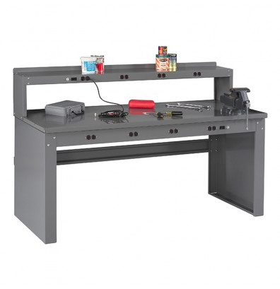 "Tennsco EB-2-3072S Solid Steel Electronic Workbench with Panel Legs, Stringer, Outlet Panel, Electronic Riser (72"" W x 30"" D)"