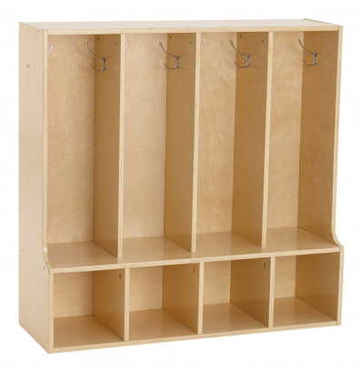 ECR4Kids Birch Streamline 4-Section Toddler Bench Coat Locker
