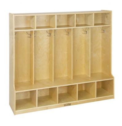 ECR4Kids Birch 5-Section Cubby Coat Locker with Step