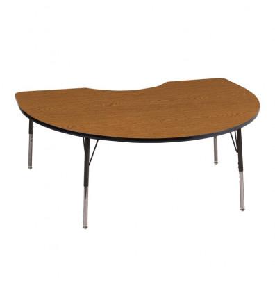 "ECR4Kids 72"" x 48"" Kidney Adjustable Classroom Activity Table (Shown in Oak / Black)"