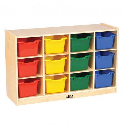 ECR4Kids Birch 12-Section Mobile Cubby Tray Cabinet (Shown with Assorted Bins)