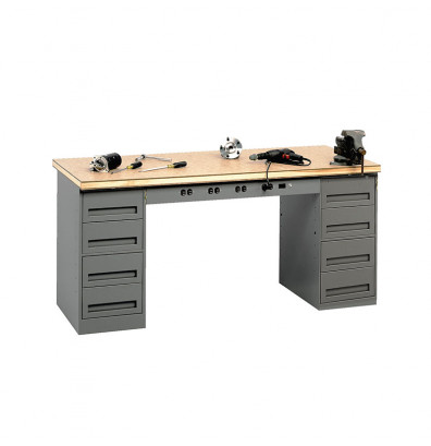 "Tennsco EMB-1-3072C Compressed Wood Top Electronic Modular Workbench with 2 Drawers (72"" W x 30"" D) Shown in Medium Grey"