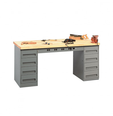 "Tennsco EMB-1-3072M Hardwood Top Electronic Modular Workbench with 2 Drawers (72"" W x 30"" D)"
