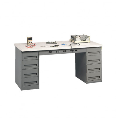 "Tennsco EMB-1-3072P Plastic Laminate Top Electronic Modular Workbench with 2 Drawers (72"" W x 30"" D)"