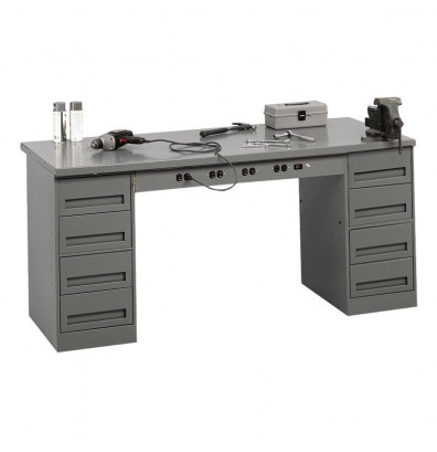 Tennsco EMB-1-3072S Solid Steel Top Electronic Modular Workbench with 2 Drawers