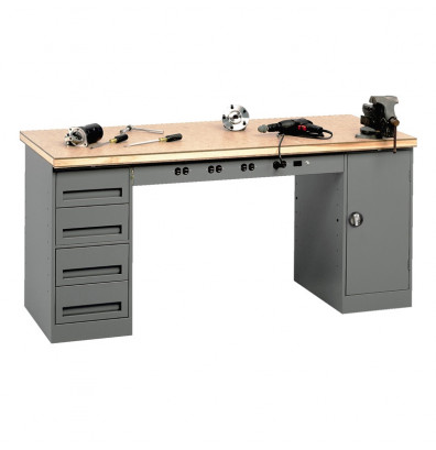 "Tennsco EMB-2-3072C Compressed Wood Top Electronic Modular Workbench with 1 Drawer, 1 Cabinet (72"" W x 30"" D)"