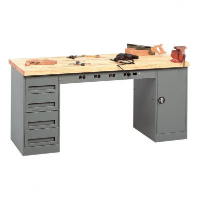 "Tennsco EMB-2-3072M Hardwood Top Electronic Modular Workbench with 1 Drawer, 1 Cabinet (72"" W x 30"" D)"