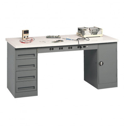 "Tennsco EMB-2-3072P Plastic Laminate Top Electronic Modular Workbench with 1 Drawer, 1 Cabinet (72"" W x 30"" D)"