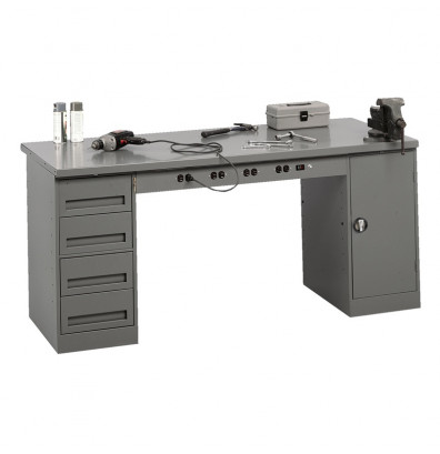 "Tennsco EMB-2-3072S Solid Steel Top Electronic Modular Workbench with 1 Drawer, 1 Cabinet (72"" W x 30"" D)"