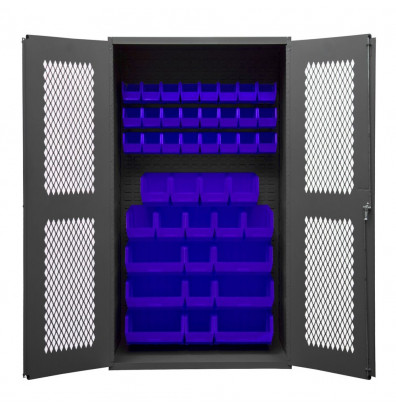 Durham Steel Ventilated Bin Storage Cabinets, 42 Hook-On Bins