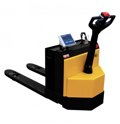 """Vestil EPT-2748-45-SCLRPAGM Electric 4500 lb Capacity Pallet Truck with Rider Platform, Scale, and AGM Battery 27"""" W x 48"""" L (shown without rider platform)"""