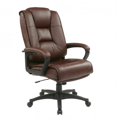 Office Star Deluxe Top Grain Leather High-Back Executive Office Chair (Model EX5162-4)