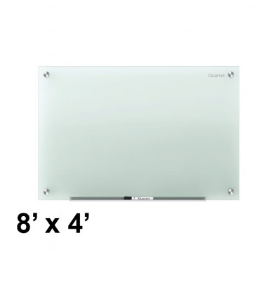 Quartet Infinity 8 ft. x 4 ft. White Frosted Glass Whiteboard (Smaller size shown; actual model has 8 mounting points)