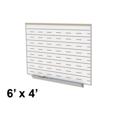 Ghent GA2M46-PEN 6 ft. x 4 ft. Penmanship Lines Graphic Porcelain Whiteboard with Box Tray
