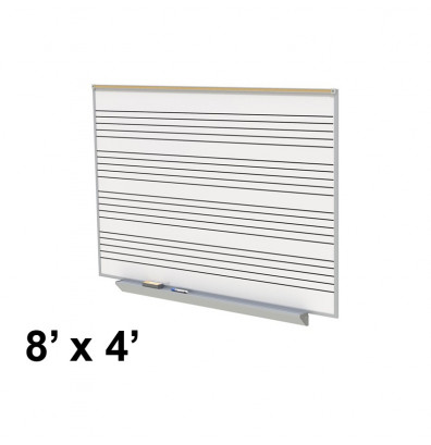 Ghent GA2M48-MS 8 ft. x 4 ft. Music Staff Graphic Porcelain Whiteboard with Box Tray