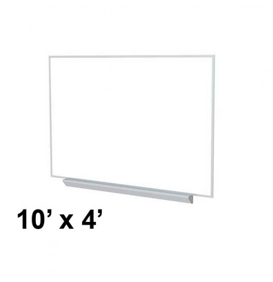 Ghent A2M410 Aluminum Frame 10 ft. x 4 ft. Porcelain Magnetic with Box Tray