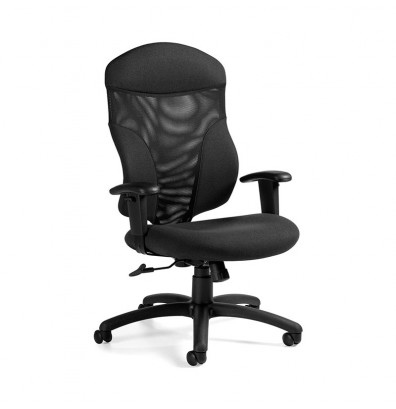 Global Tye 1950-4 Mesh-Back Leather High-Back Executive Office Chair shown in Black