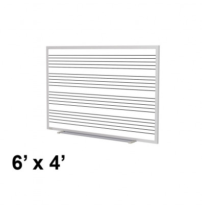 Ghent GM1-46-MS 6 ft. x 4 ft. Music Staff Graphic Porcelain Whiteboard with Blade Tray