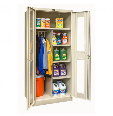 "Hallowell 800 Series 78"" H Safety-View Combination Storage Cabinets (Shown in Tan)"