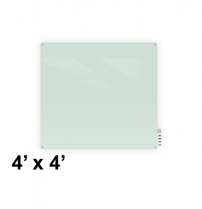Ghent HMYRN44FR Harmony 4 x 4 Radius Corners Frosted Non-Magnetic Glass Whiteboard