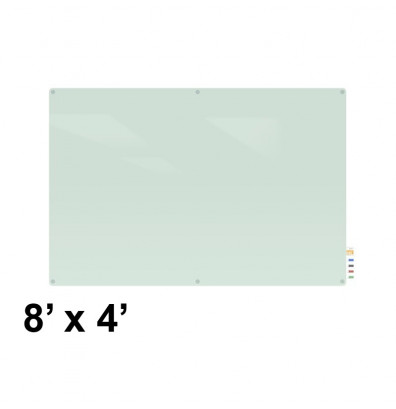 Ghent HMYRN48FR Harmony 8 x 4 Radius Corners Frosted Non-Magnetic Glass Whiteboard