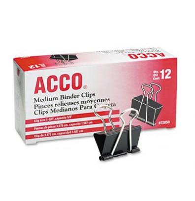 "Acco 1-1/4"" Capacity Steel Wire Medium Binder Clips, 12/Box"