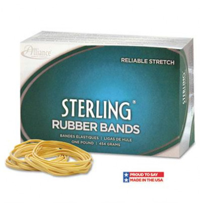 """Alliance 7/8"""" x 1/16"""" Size #8 Sterling Ergonomically Correct Rubber Bands, 1 lb. Box"""