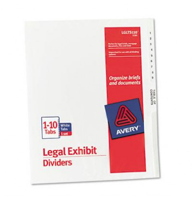 Avery 1-10 Preprinted 11-Tab Letter Dividers, White, 1 Set