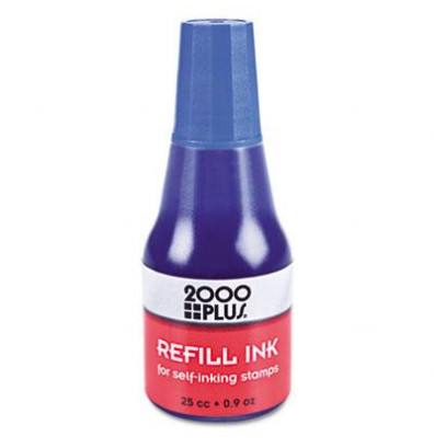 2000 Plus Self-Inking Refill Ink, .9 oz Bottle, Blue
