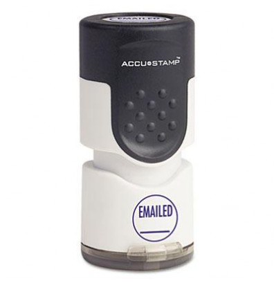 """Accustamp """"Emailed"""" Pre-Inked Round Stamp with Microban, Blue Ink, 5/8"""""""