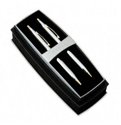 Cross Classic Century Medalist Ballpoint Pen & Pencil Set, Chrome with 23 Kt. Gold Plate