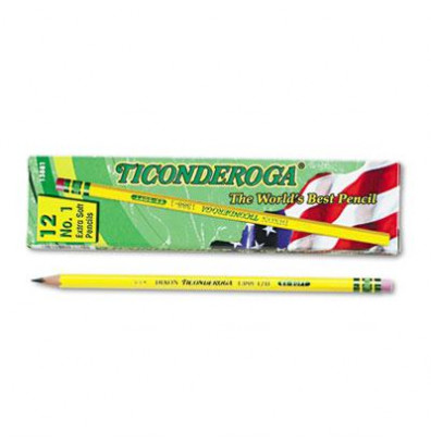 Dixon Ticonderoga #1 Yellow Woodcase Pencils, 12-Pack