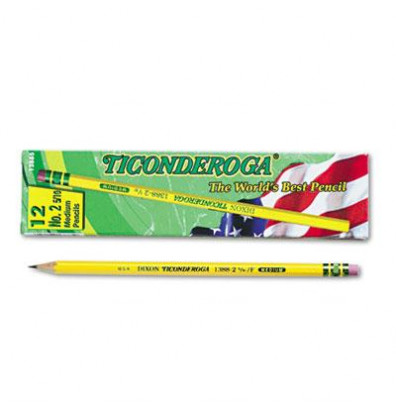 Dixon Ticonderoga #2.5 Yellow Woodcase Pencils, 12-Pack